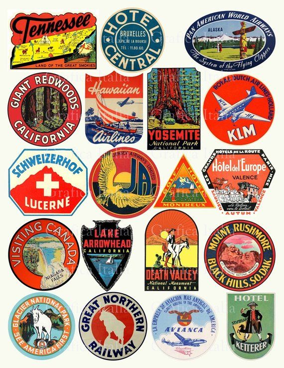 Travel Luggage Labels Clipart.