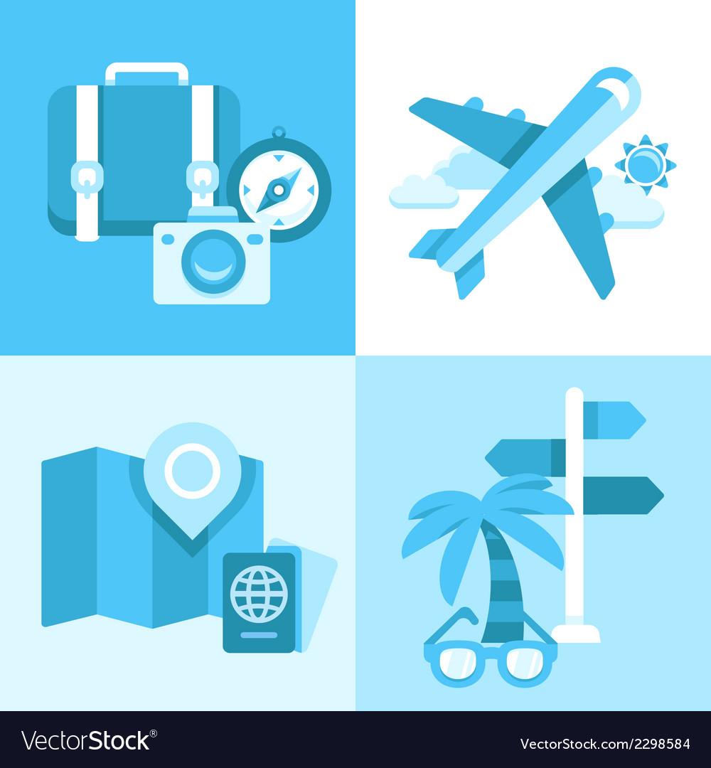 Flat icon set of travel symbols.