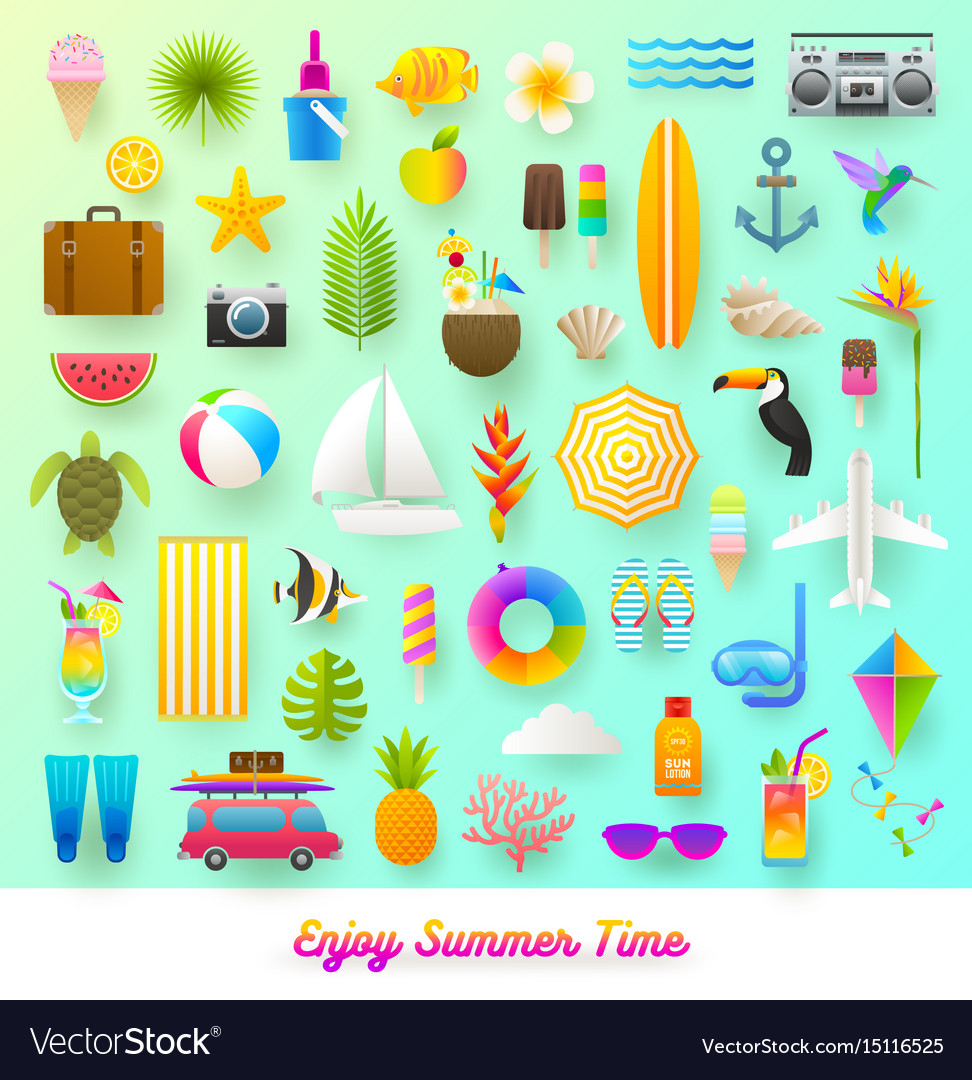 Set of summer vacation and travel items.