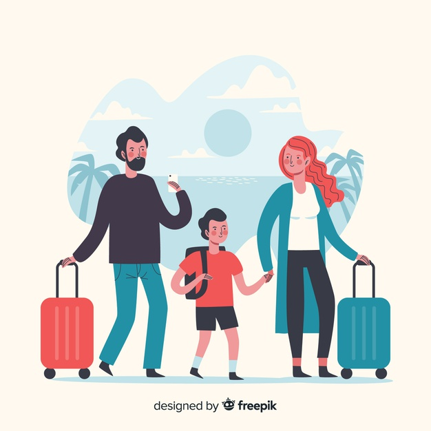 Family time travelling on vacation Vector.