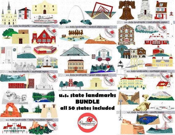 U.S. State Landmarks Mega Bundle Digital Clipart Pack (300.