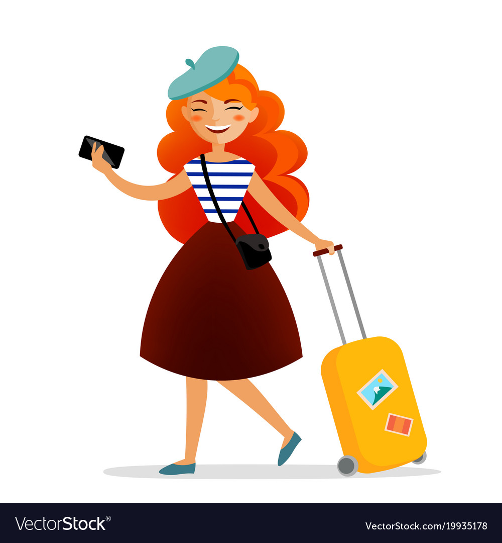 Girl traveler with a suitcase bag and phone with.