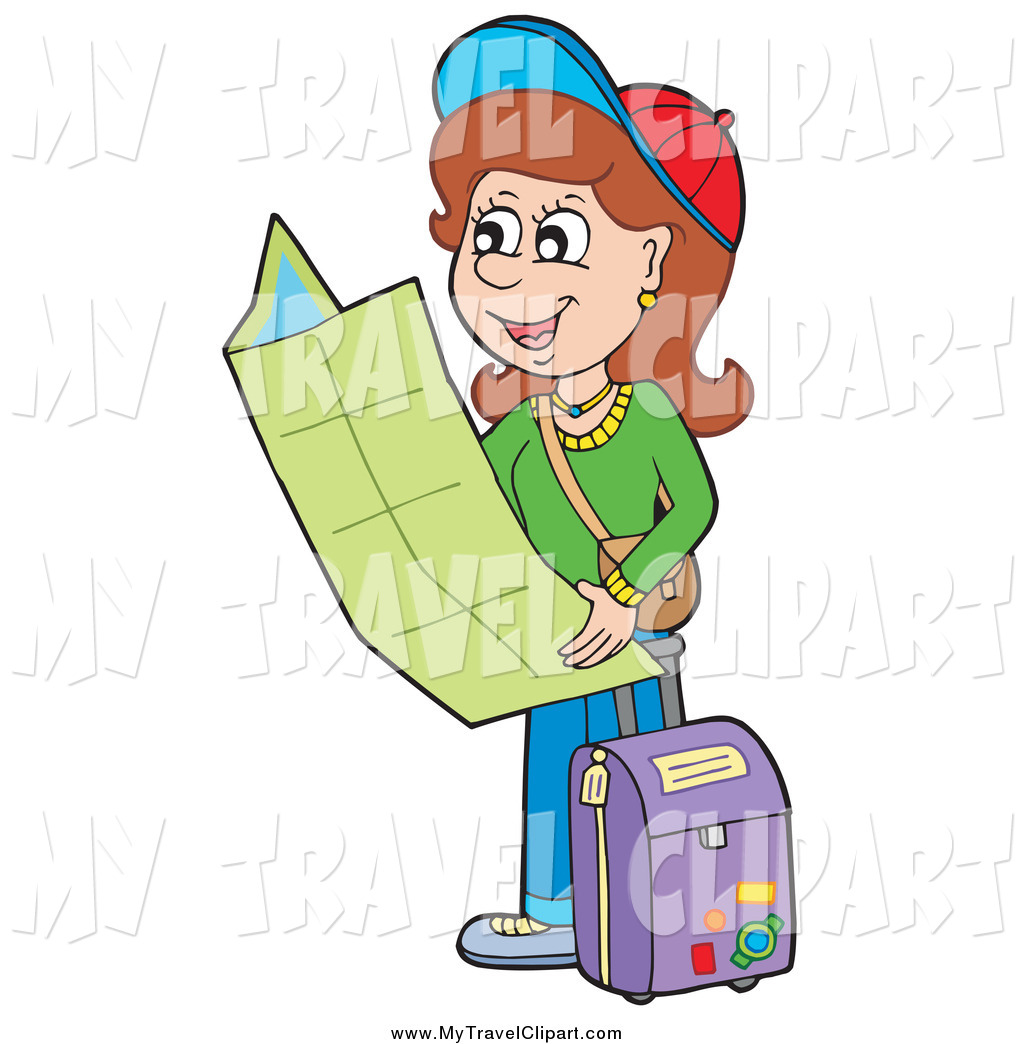 Clipart of a Happy Brunette White Woman Traveler Holding a.