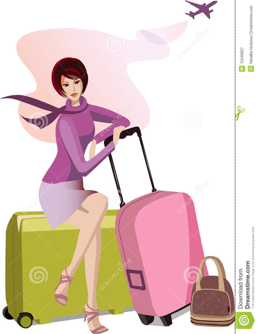 Travel Girl Clipart.