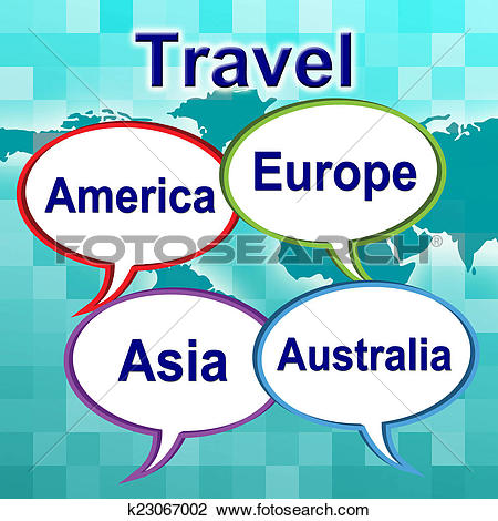 Clip Art of Travel Words Shows Traveller Travelled And Travels.