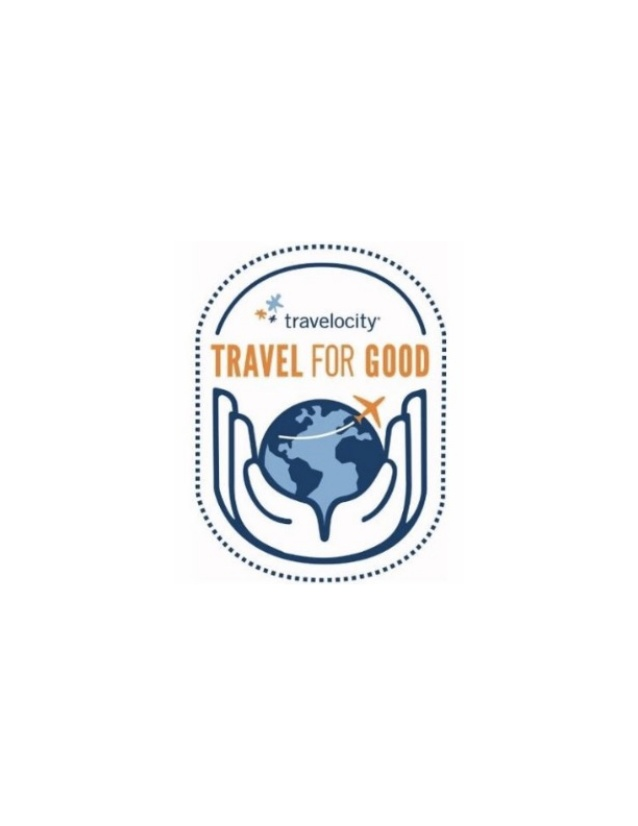 Travelocity #TravelForGood logo.