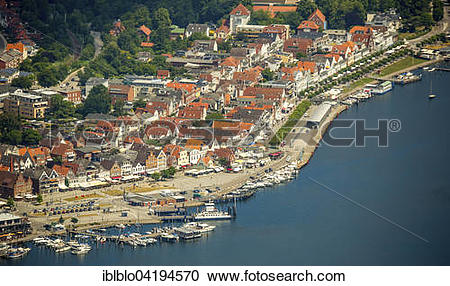 Stock Photography of Historic centre and mole, Bay of Lubeck.