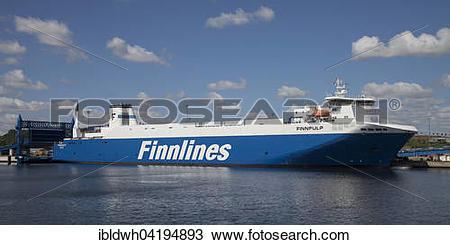 Stock Photo of Finnlines ferry on the Skandinavienkai, Travemunde.
