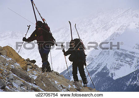 Stock Photo of walking up a moraine at the start of the Wapta.