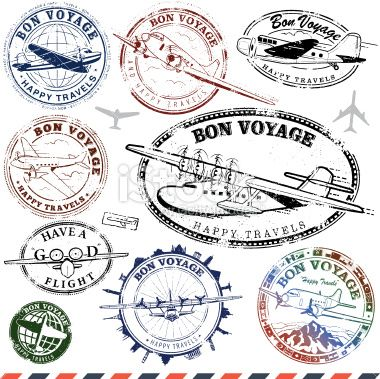 Series of retro/vintage airplane travel stamps..