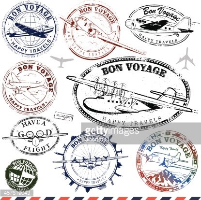 Vintage Airplane Travel Stamps Clipart Image.