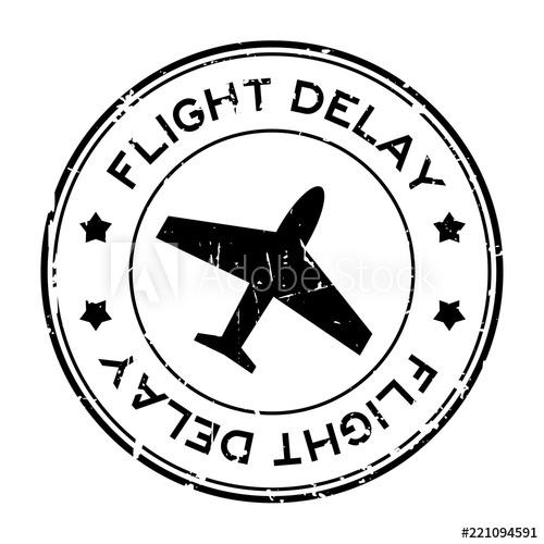 Grunge black flight delay word with airplane icon round.