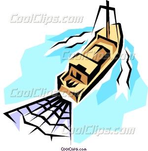 Fishing trawler Vector Clip art.
