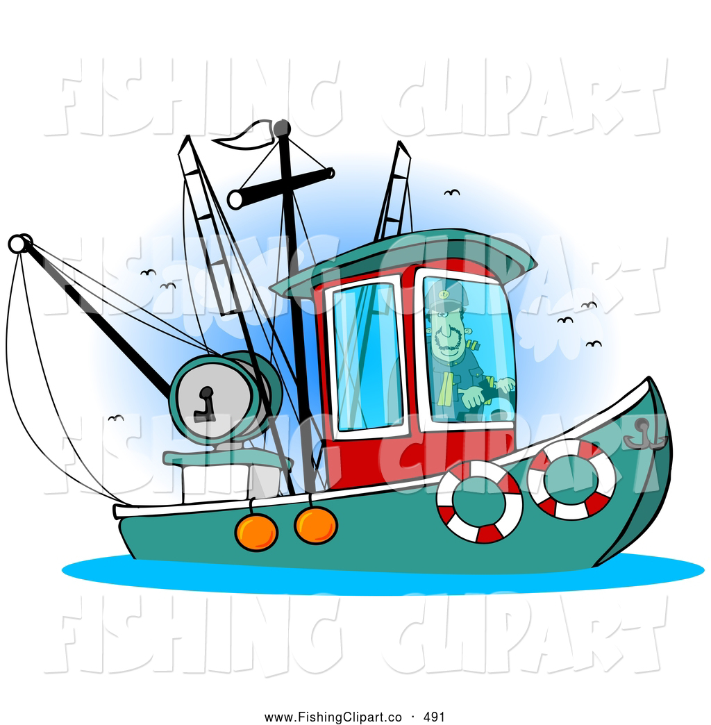 Royalty Free Stock Fishing Designs of Boats.