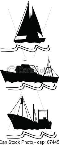 Vectors of fishing, trawlers and ship that sails deep csp16744538.