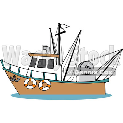 Free (RF) Clipart Illustration of a Trawler Fishing Boat At Sea.