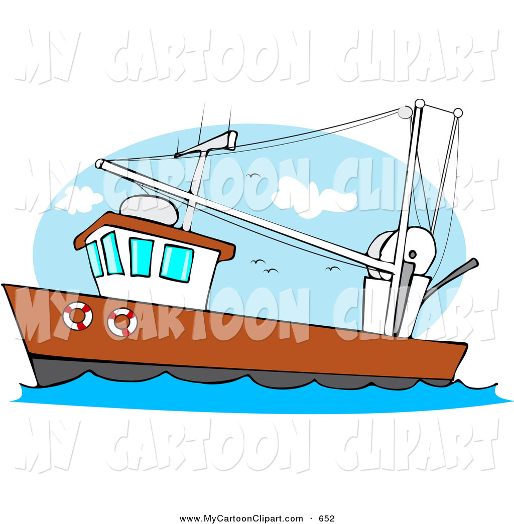 Royalty Free Stock Cartoon Designs of Trawlers.