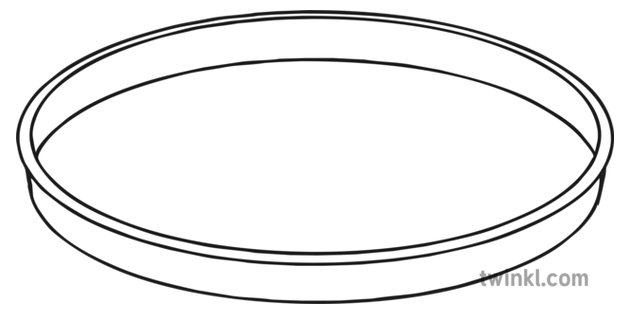 Oval Tray Black and White Illustration.