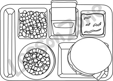 Empty Lunch Tray Clipart Black And White.