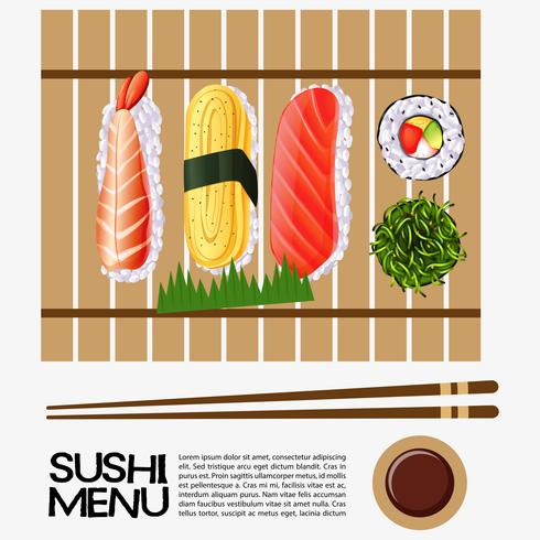 Sushi menu design with sushi on wooden tray.