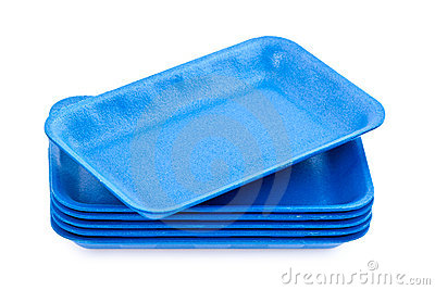 Empty Blue Styrofoam Trays Stock Images.