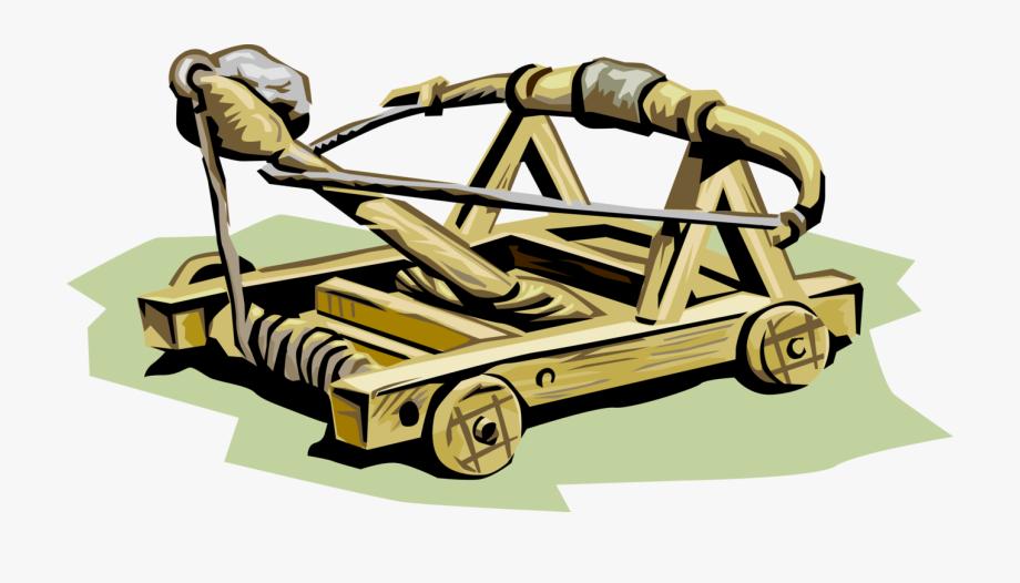 Vector Illustration Of Medieval Catapult Trebuchet.