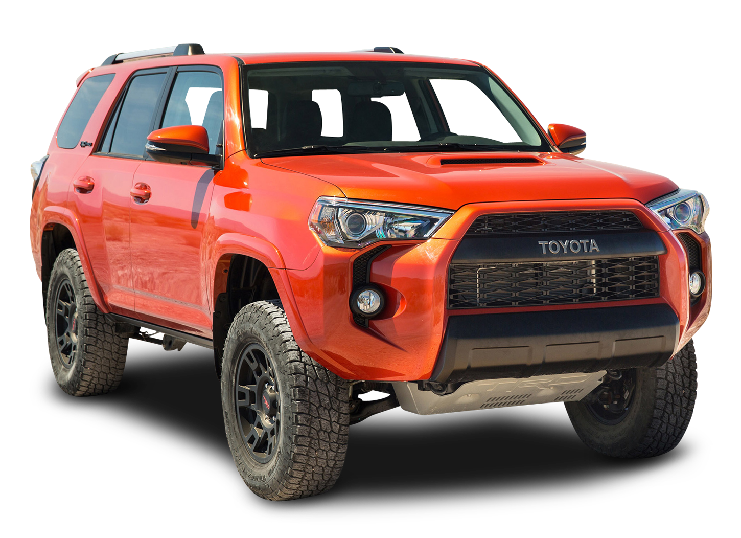 Toyota TRD Pro Orange Hill Car PNG Image.