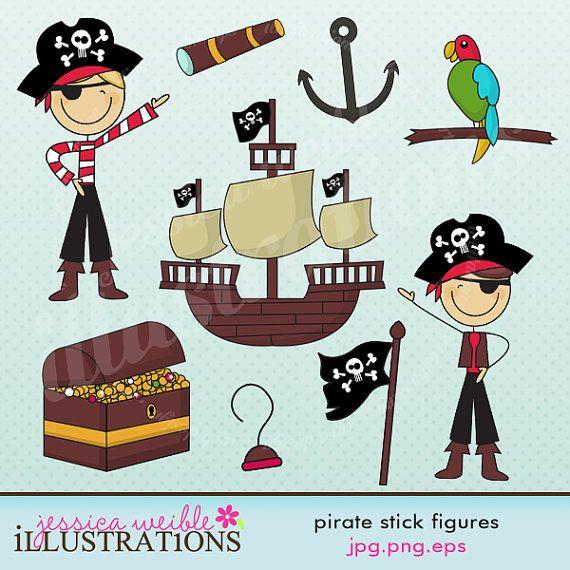 Pirate Stick Figures Cute Digital Clipart for Card Design.