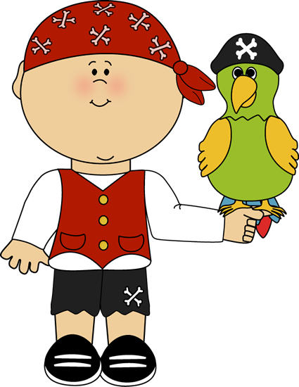 PIRATE BOY AND PARROT CLIP ART.