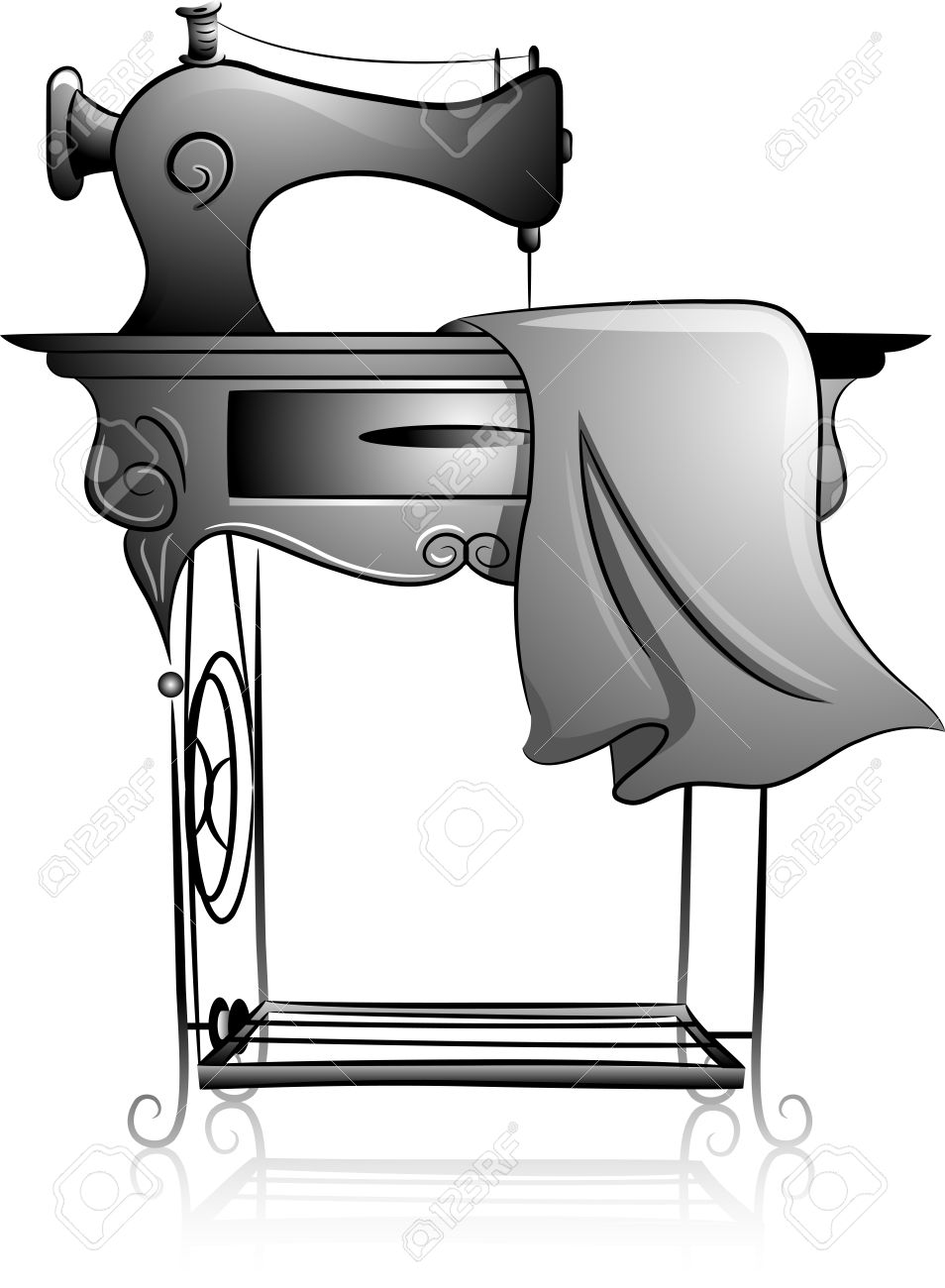 Icon Illustration Featuring A Treadle Sewing Machine Drawn In.