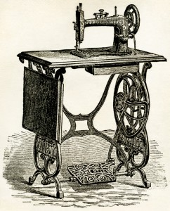 treadle sewing machine vintage illustration, antique sewing.