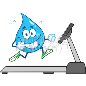 royalty free rf clipart illustration healthy water drop cartoon character  running on a treadmill vector illustration isolated on white . Royalty.