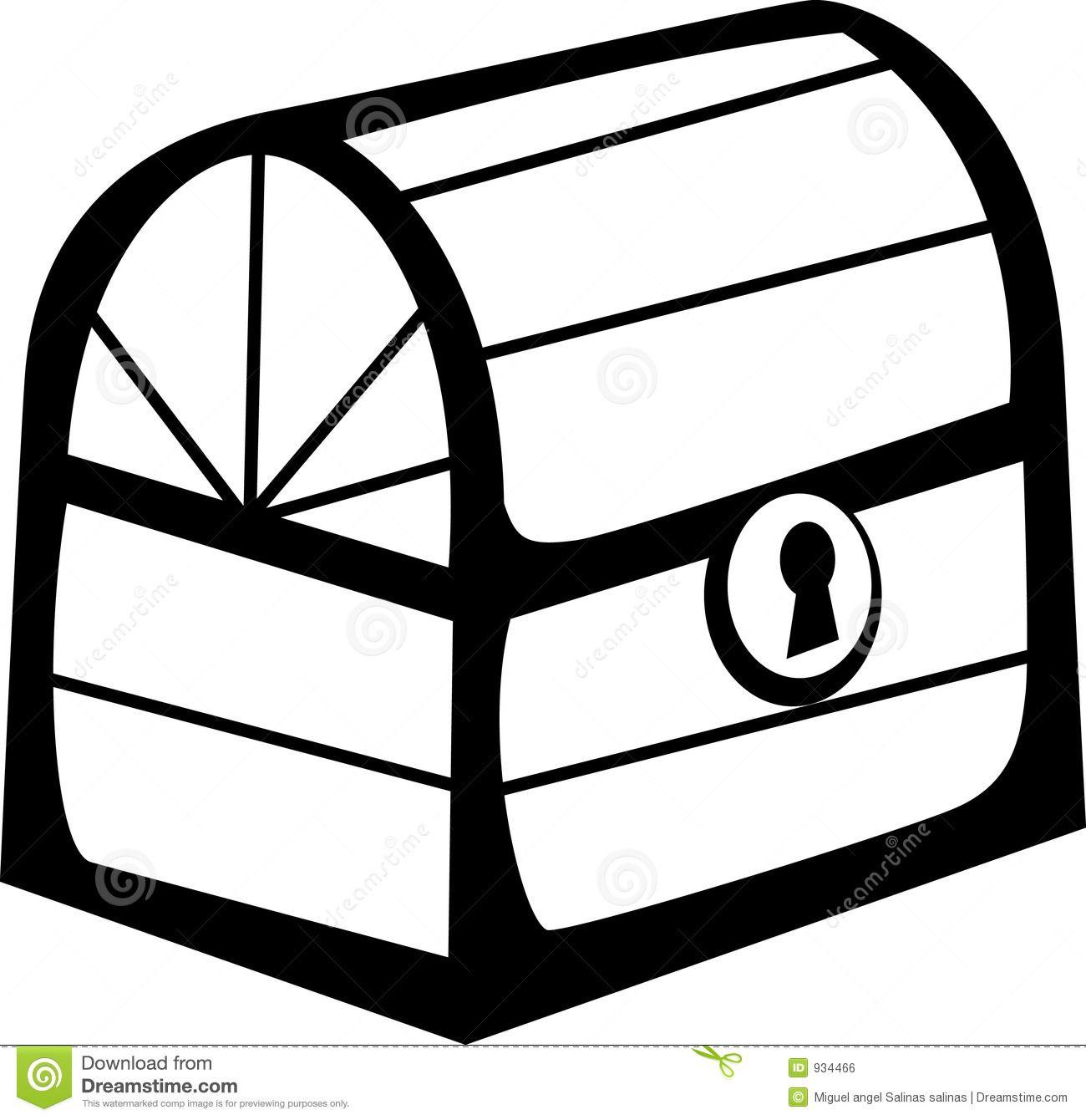 Treasure Box Black And White Clipart.