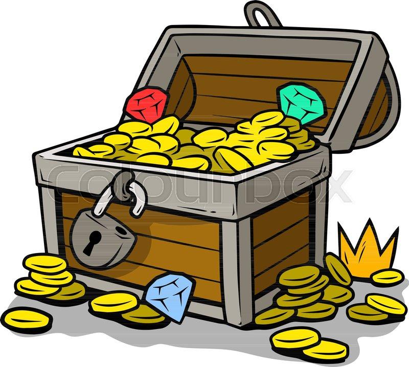 Cartoon open treasure chest with lock.