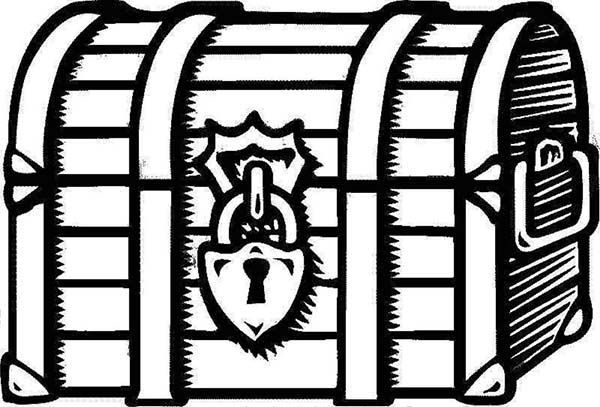 Treasure Chest, : A Drawing of Locked Treasure Chest.