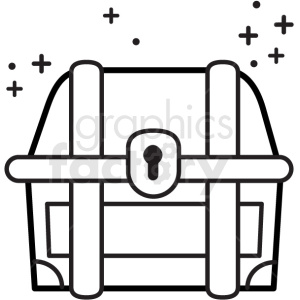 treasure chest with sparkles vector icon . Royalty.