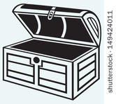 21218 treasure chest clip art black and white.