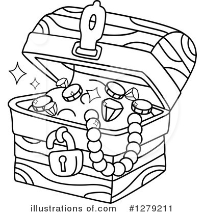 Treasure chest clipart black and white free clipground for Treasure chest coloring pages printable