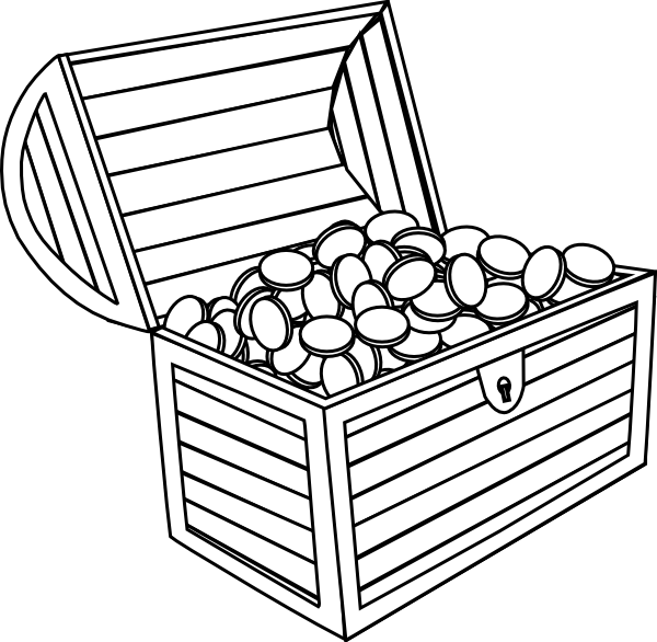 Treasure chest treasure black and white clipart 3.