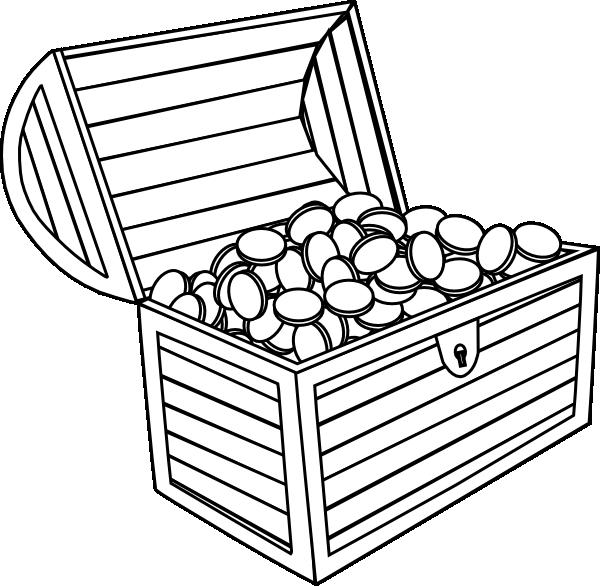 Treasure chest treasure black and white clipart 3.