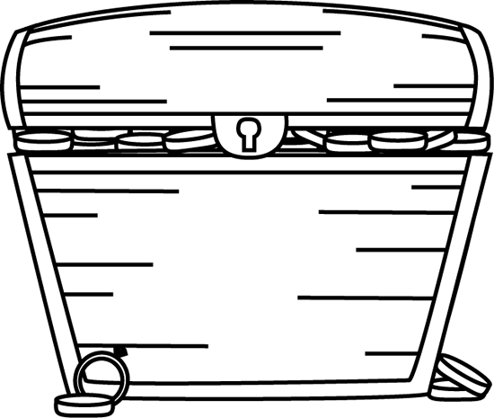 Black and White Treasure Chest Filled with Treasure Clip Art.
