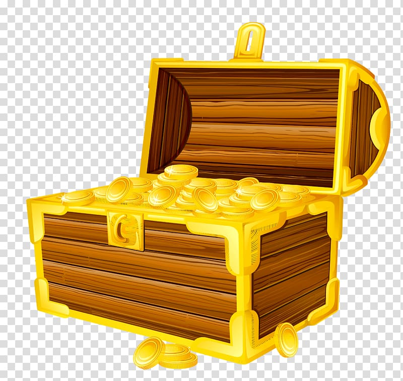 Treasure chest transparent background PNG clipart.