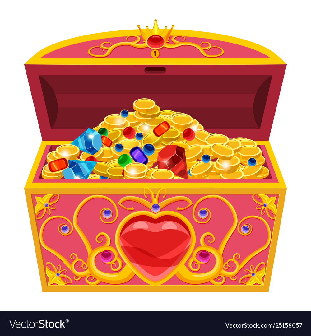 Princess treasure chest decorated with diamonds.