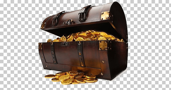 Treasure Chest, trunk of gold coins illustration PNG clipart.
