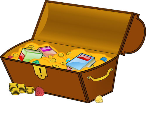 Treasure chest vector clip art.