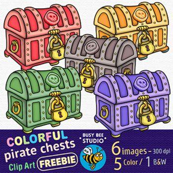 Colorful Treasure Chests Clip Art.