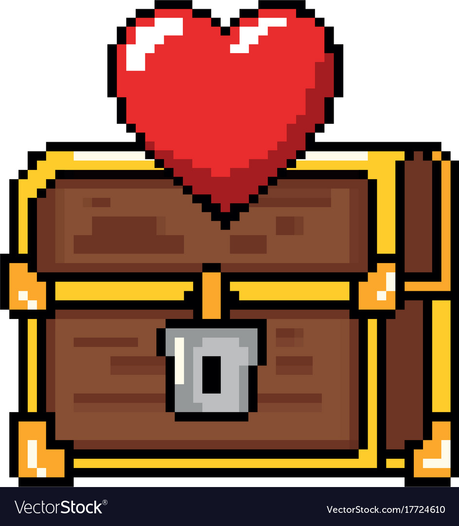 Pixelated treasure chest with heart.