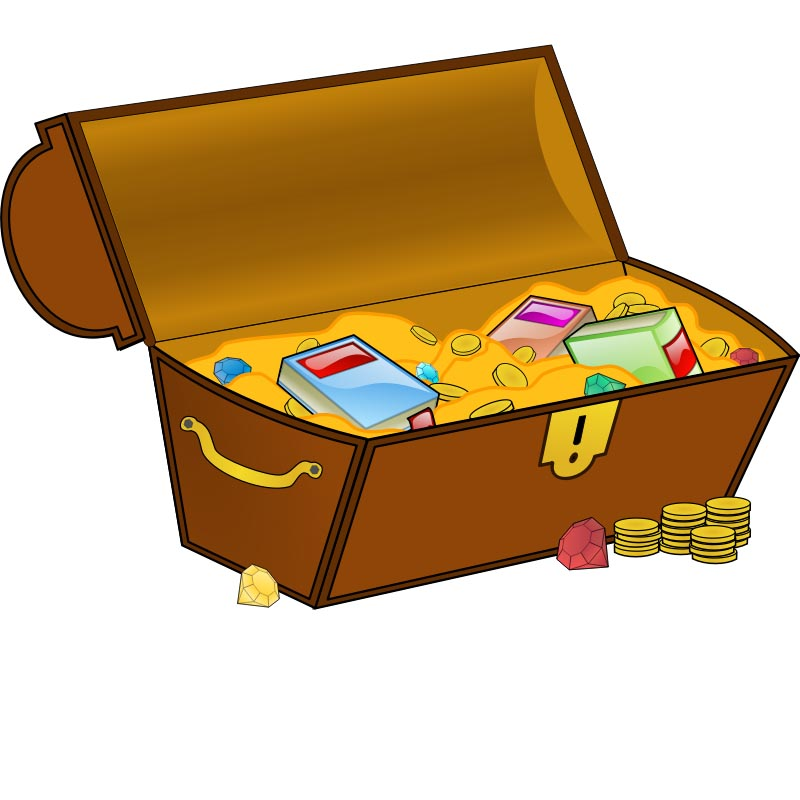 Treasure Chest Clipart with Books.