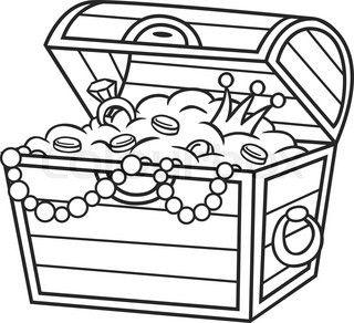 320x292 Cartoon treasure chest. Vector clip art illustration.