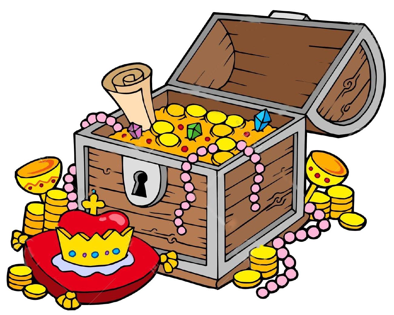 Treasure Chest Clip Art with Map.